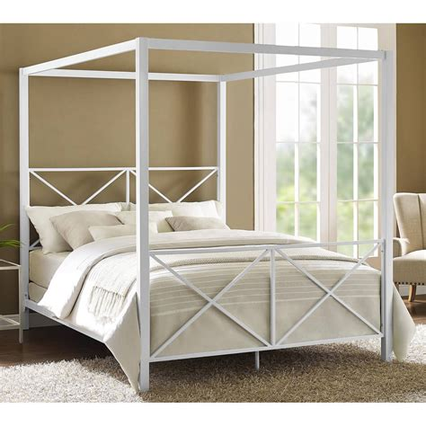 Canopy Bed Queen Size White Finish Metal Frame Modern Size Canopy Bed