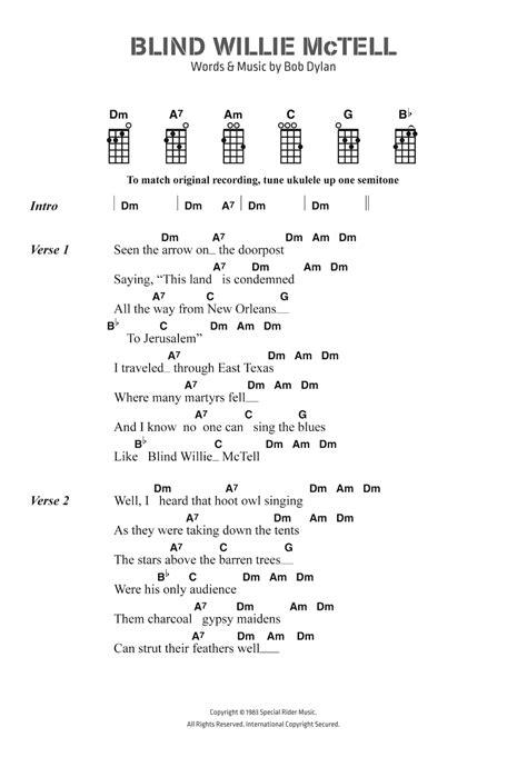 Blind Willie Mctell Bob Dylan Bob Dylan Blind Willie Mctell Sheet Music At Stanton S