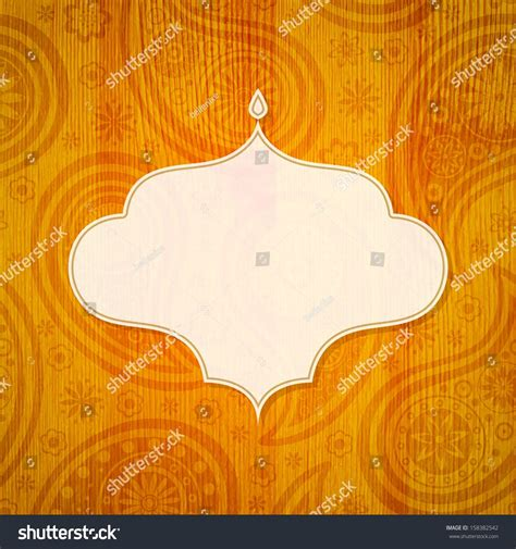 indian pattern frame frame indian style on wooden background stock vector
