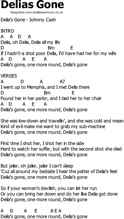 country music gone for good old country song lyrics with chords delias gone