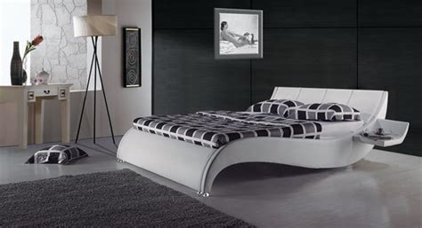modern leather bed frame with built in side tables contemporary platform beds