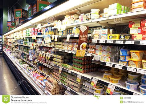 Eggs And Dairy Products Shelves Editorial Image Image