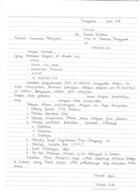 contoh surat lamaran rsud dr soedomo trenggalek