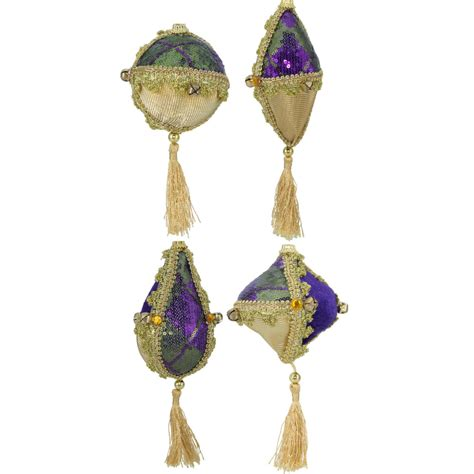 assorted mardi gras fabric covered ornaments set of 4
