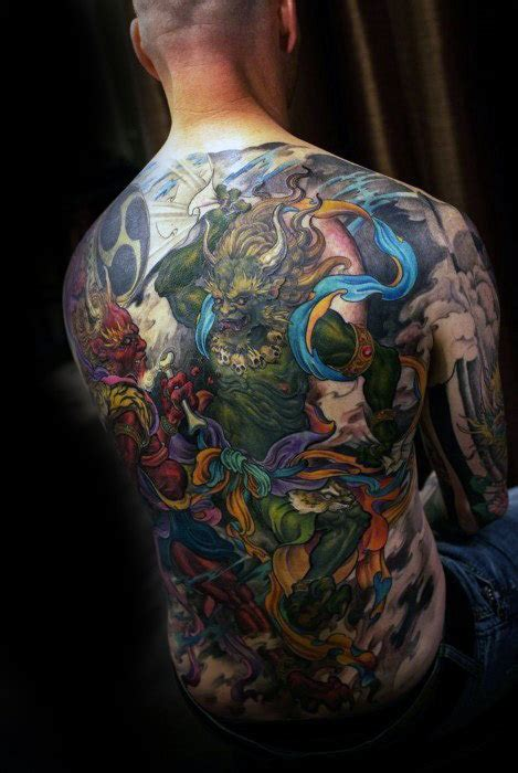 colorful tattoo inspiration 50 cool back tattoos for men expansive canvas design ideas