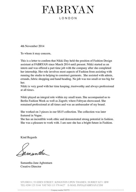 Recommendation Letter Designer reference letter for interns cover letter templates