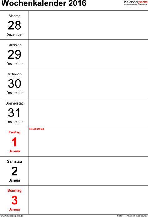 Word Vorlage Jahreskalender Wochenkalender 2016 Als Pdf Vorlagen Zum Ausdrucken