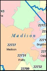 Madison Zip Code Map by Madison County Virginia Digital Zip Code Map