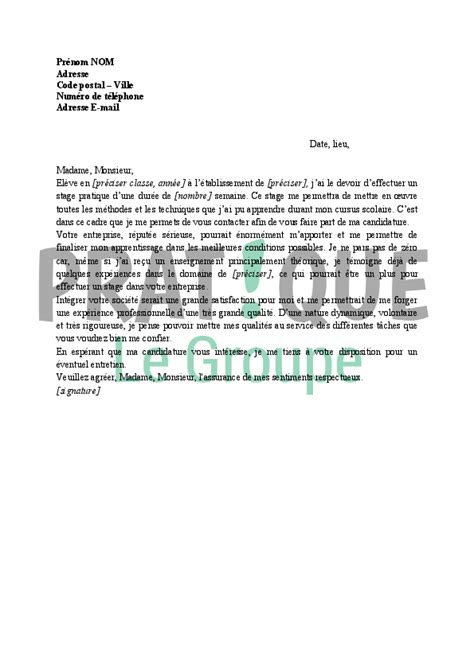 Lettre De Motivation Entreprise Stage modele lettre de motivation garantie