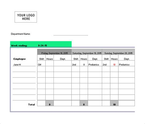 nursing schedule template 7 free word excel pdf