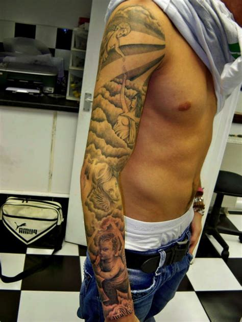 angel sleeve tattoos for men 26 sleeve tattoos ideas