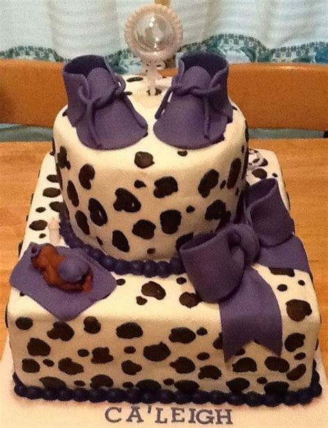Leopard Baby Shower Cakes by Leopard Print Baby Shower Cake Purple Cakecentral