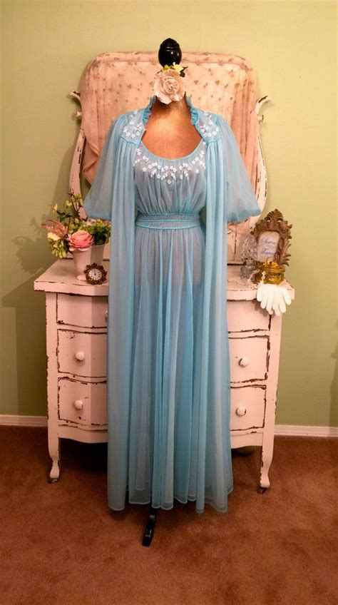 Sheer Nightdress Set beaded chiffon nightie set 50s nightgown robe wedding