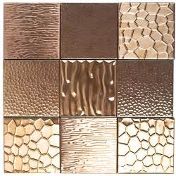 metal etched copper stainless steel 4x4 tiles