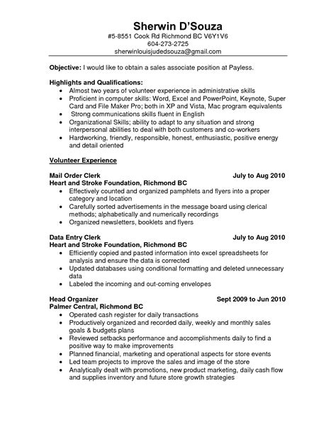 Resume Sles Clerical Skills Objective For Resume Sales Associate Writing Resume Sle Writing Resume Sle