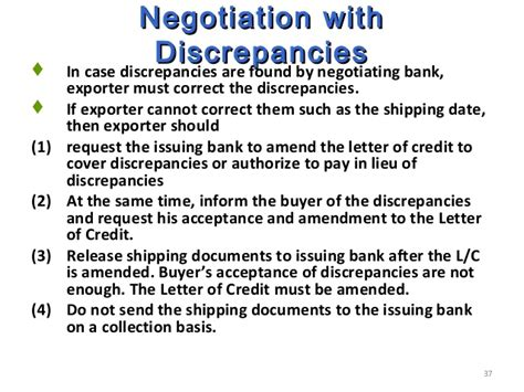 negotiating bank in lc processing of export order on 4 09 12