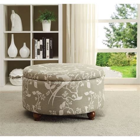 coaster storage ottoman in floral print pattern 500060