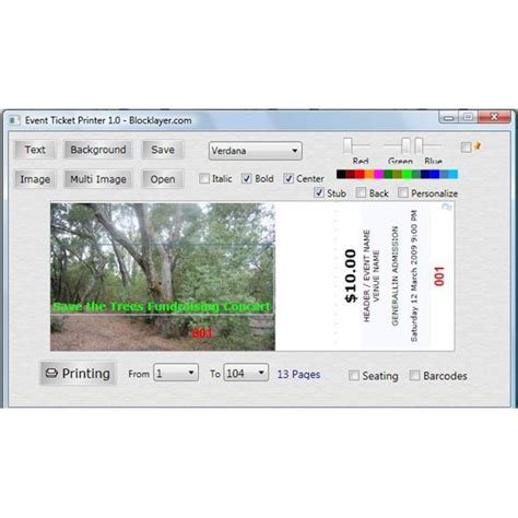 free printing raffle tickets software print tickets easily with free ticket printing software
