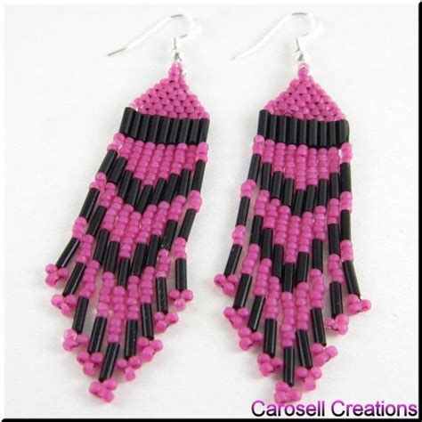 beadwork pink style beadwork seed bead earrings in pink