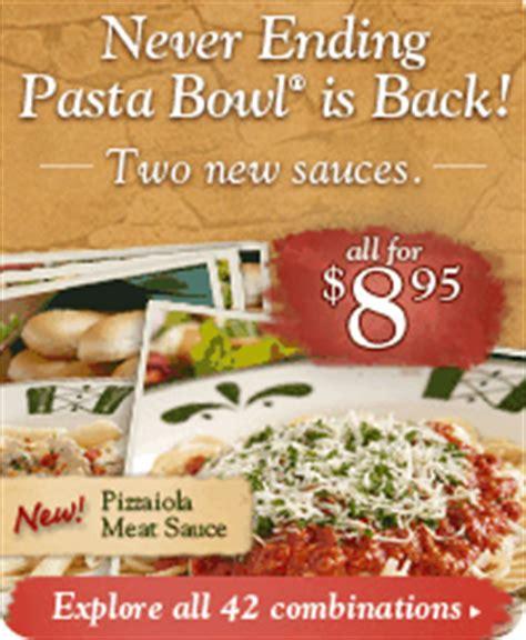 olive garden coupon never ending pasta bowl olive garden never ending pasta bowl review 25 gift
