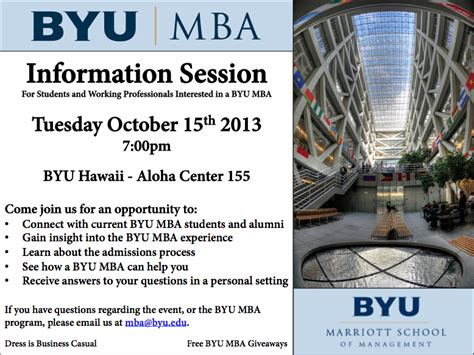 Mba Byu Hawaii byu marriott school mba regional info session byu