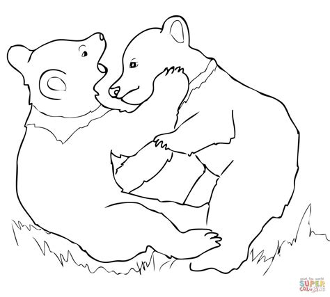 coloring page bear cub grizzly bear cubs playing coloring page free printable
