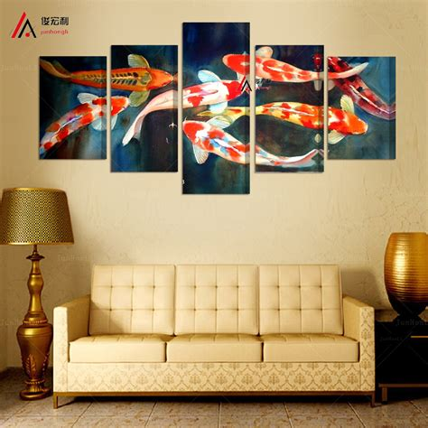 home decor express 5 panel canvas prints koi fish art chinese painting