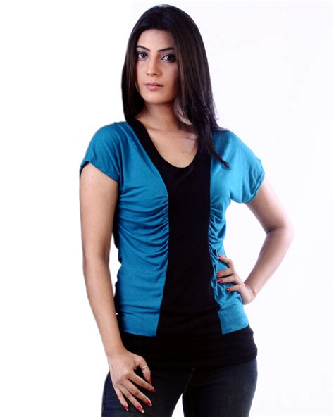 Blouse Atasan Louse Ring Knit Rs teal black vertical colour block knit top for