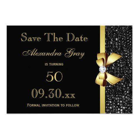 Save The Date Birthday Cards Any Age Birthday Save The Date Black And Gold Card Zazzle