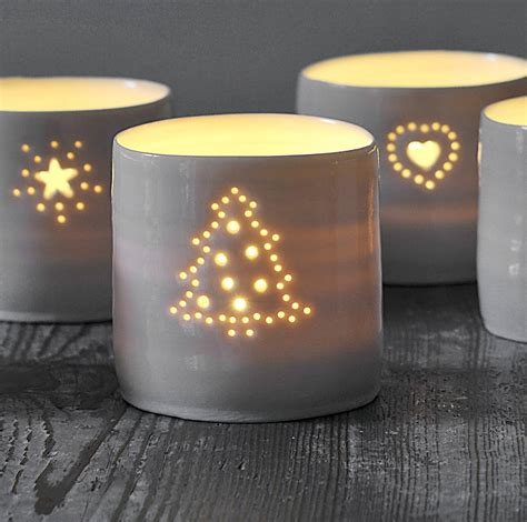 porcelain christmas tree tealight by luna lighting