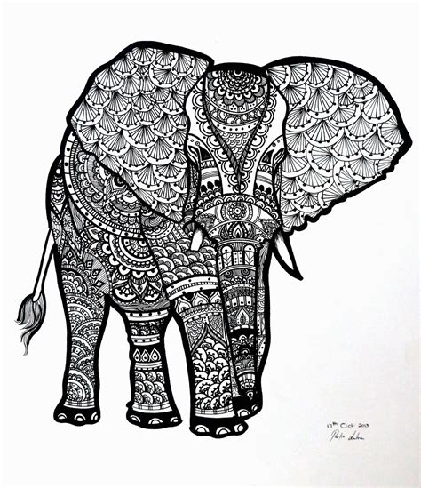 zen coloring pages elephant zentangle elephant on behance