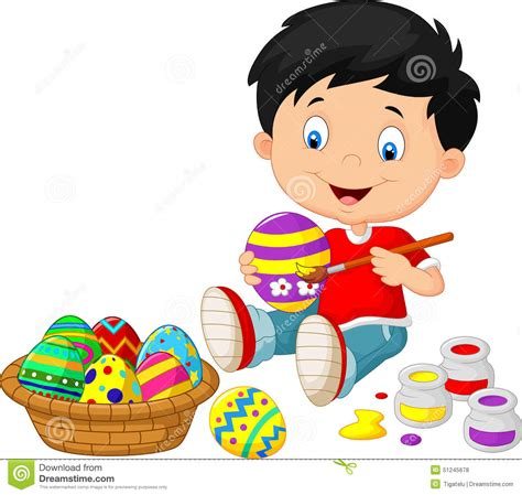 Draw Floor Plans Free little boy cartoon painting an easter egg stock vector