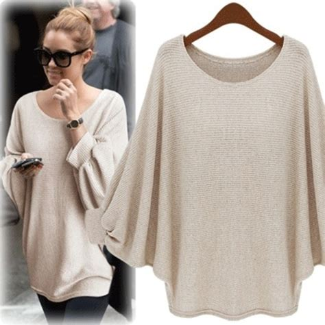 Oversized Poncho Sweater Khaki khaki batwing sleeve hollow sweater sheinside