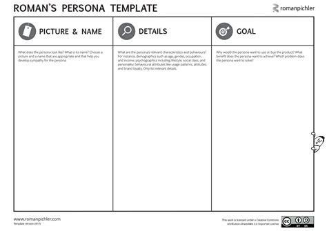 persona design template persona template pichler
