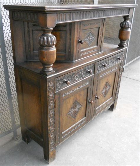 Dining Room Settee Antique Jacobean Style Heavily Carved Oak Court Cupboard