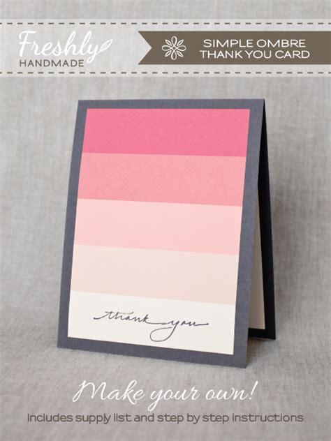 freshly handmade simple ombre thank you card tutorial