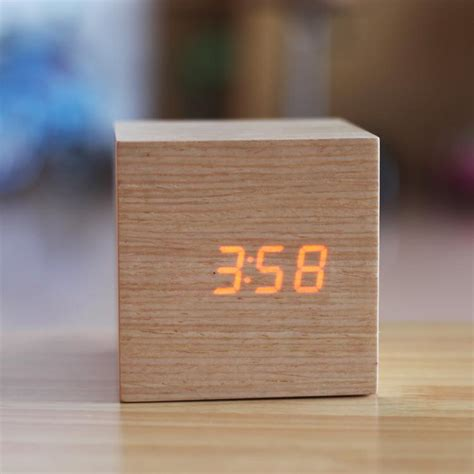 office desk clock discount gadgets cool wood clocks led display