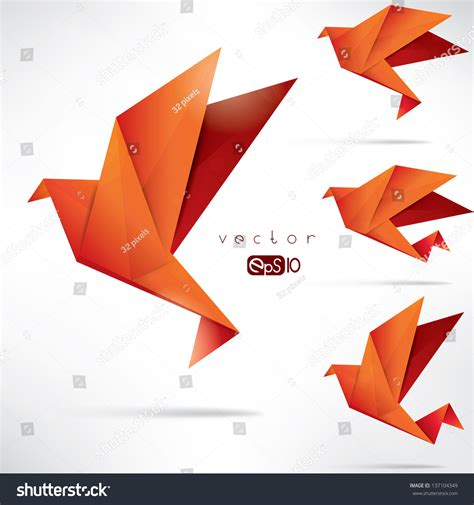 How To Fold Paper Into A Bird - origami paper bird vector illustration polygonal shape