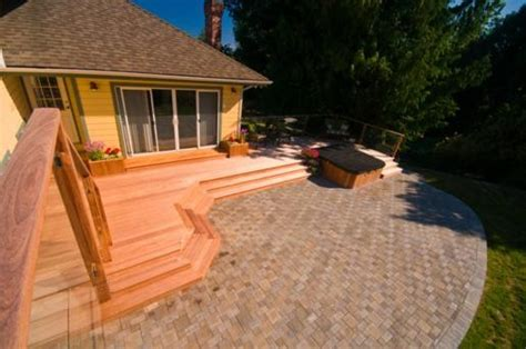 wood patio pavers wood deck and paver patio contemporary landscape