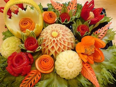 Floral Arrangement Ideas by Thai Art Of Fruits And Vegetable Carving