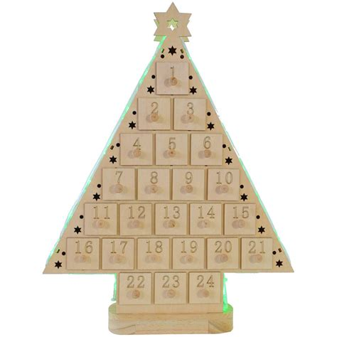E Calendar Factory Festive Battery Operated Wooden Led Tree Advent