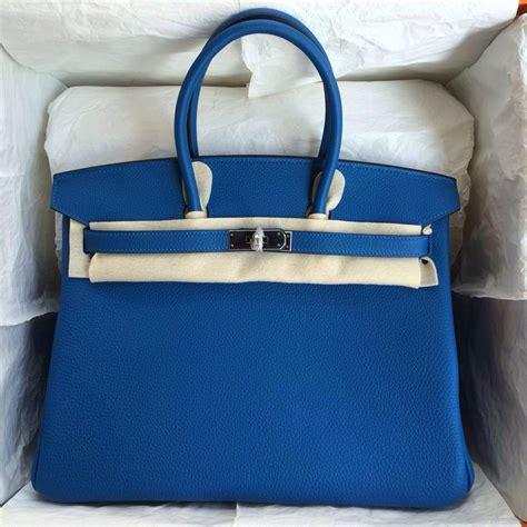 Hermes Constance 101 noble birkin handbag 7q caribe blue togo leather gold silver hardware hermes crocodile