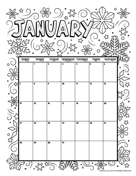 2018 coloring calendar monthly planner books january 2018 coloring calendar page woo jr activities