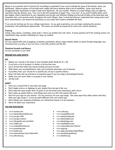 entertainment resume template entertainment industry resume for free page 2