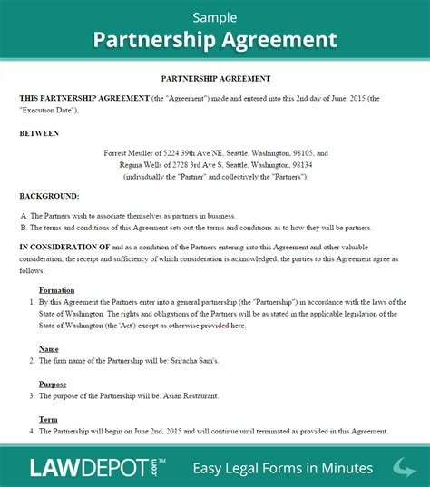Partnership Agreement Template Us Lawdepot Partnership Agreement Template