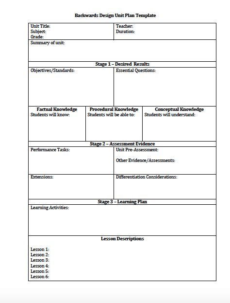 backwards planning template unit plan and lesson plan templates for backwards planning