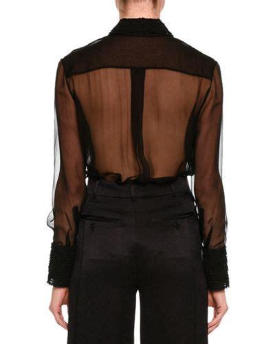 Lace Trim Chiffon Blouse valentino sleeve lace trim chiffon blouse