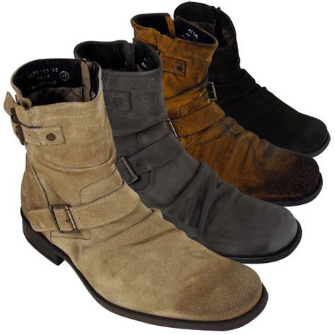 mens leather base metal biker ankle boot burnished
