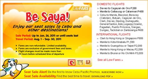 seat your heart out cebu pacific promo fare for as low as php 199 p288 domestic seat sale ongoing at cebu pacific