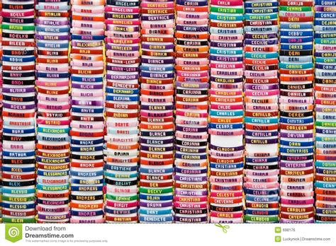 with name collection of name bracelets royalty free stock image